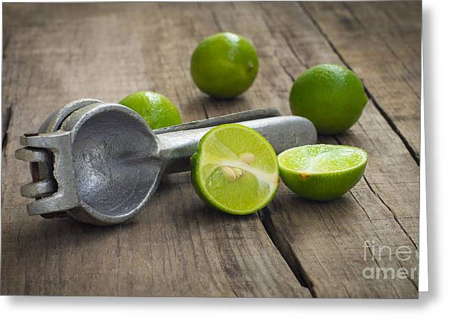 Produce Greeting Cards - Lime Press Greeting Card by Aged Pixel