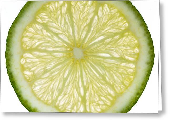 Organic Photographs Greeting Cards - Lime Slice Greeting Card by Steve Gadomski