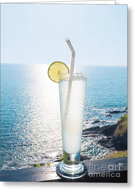 Chic Greeting Cards - Lime soda Greeting Card by Atiketta Sangasaeng