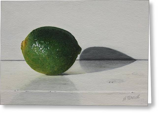 Lime Paintings Greeting Cards - Lime Solo Greeting Card by Nancy Teague