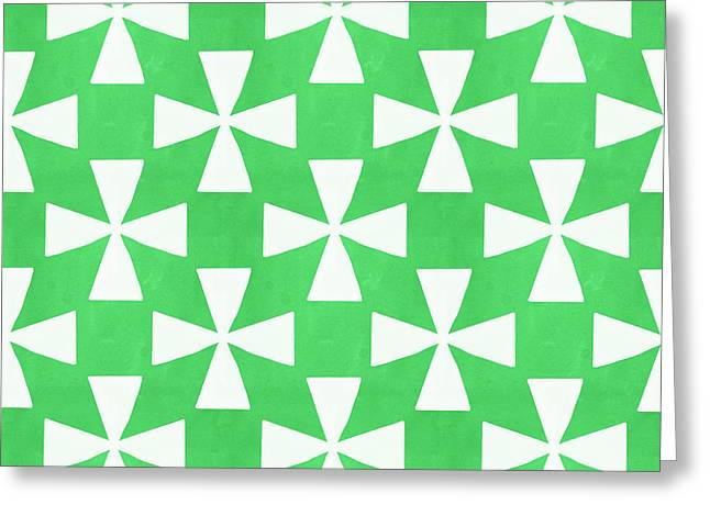 Lime Twirl Greeting Card by Linda Woods