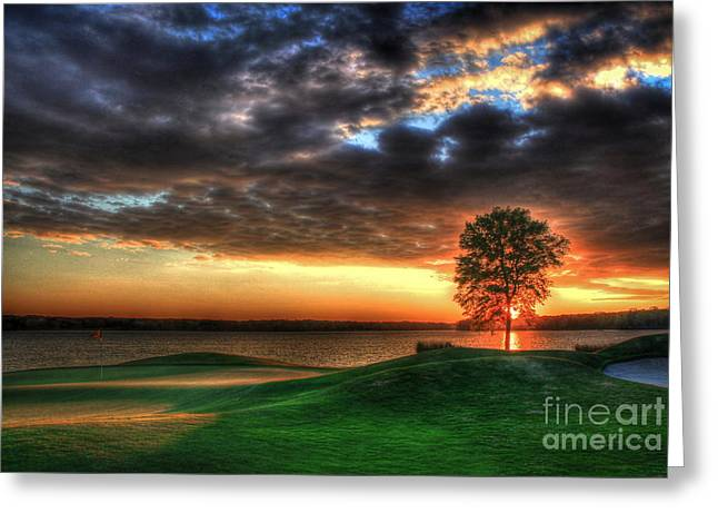 Golf Hole Greeting Cards - Limelight Greeting Card by Reid Callaway