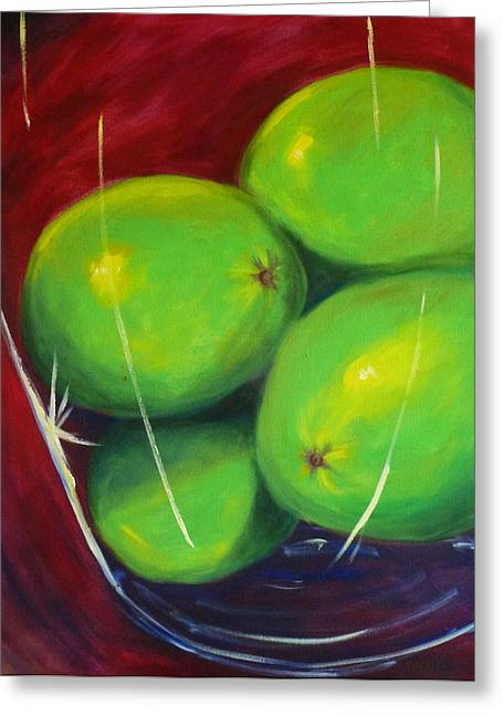 Tropical Fruit Greeting Cards - Limes in a Vase Greeting Card by Nancy Merkle
