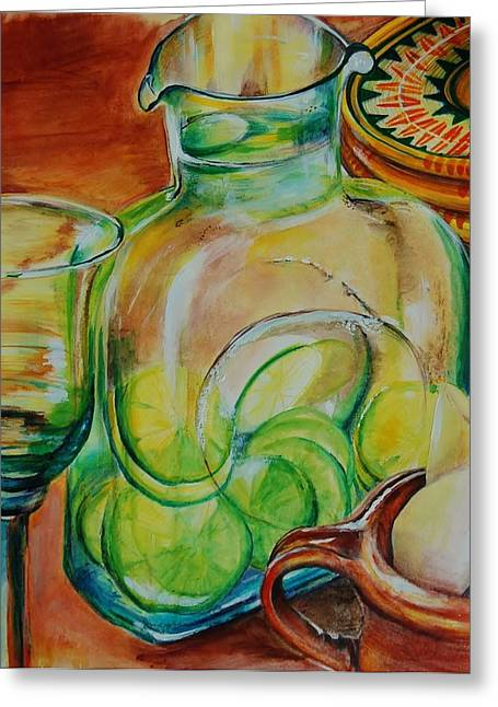 Goblet Drawings Greeting Cards - Limes In A Water Pitcher  Greeting Card by Jean Cormier