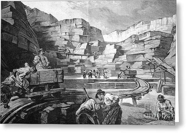 European Artwork Greeting Cards - Limestone Quarry, 1880s Greeting Card by Bildagentur-online