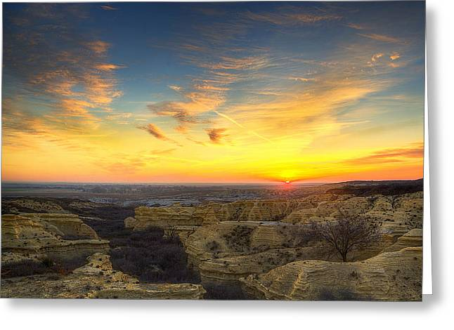 Fossil Greeting Cards - Limestone Sunrise Greeting Card by Thomas Zimmerman
