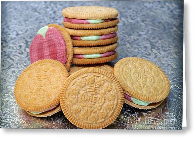Sandwich Cookie Greeting Cards - Limited Edition Ice Cream Oreo - Rainbow Shure-Bert - Cookies - Bakery Greeting Card by Andee Design