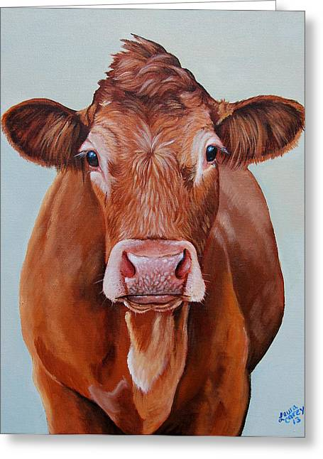 Steer Greeting Cards - Limo Girl Greeting Card by Laura Carey