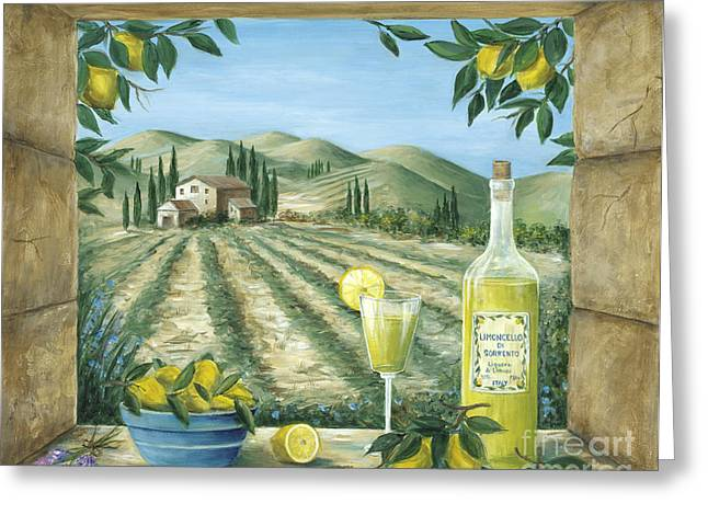 Lemon Art Greeting Cards - Limoncello Greeting Card by Marilyn Dunlap