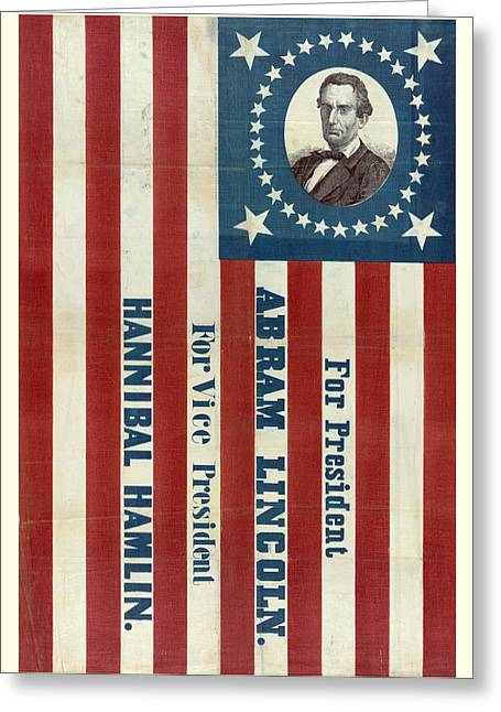 Vote Greeting Cards - Lincoln 1860 Presidential Campaign Banner Greeting Card by John Stephens