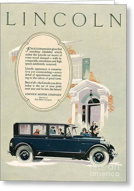 Vintage Greeting Cards - Lincoln 1926 1920s Usa Cc Cars Greeting Card by The Advertising Archives