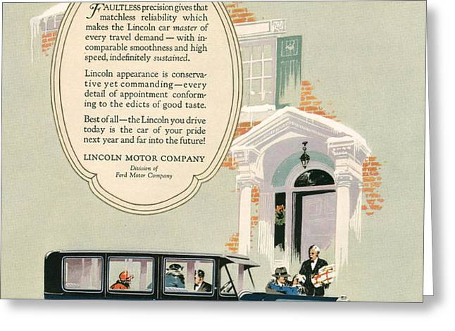 Lincoln 1926 1920s Usa Cc Cars Greeting Card by The Advertising Archives