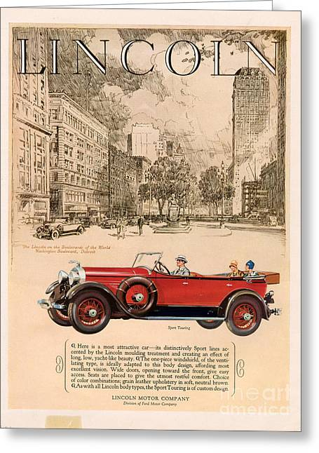 American Automobiles Greeting Cards - Lincoln 1927 1920s Usa Cc Cars Greeting Card by The Advertising Archives