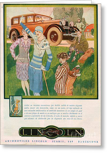 American Automobiles Greeting Cards - Lincoln 1928 1920s Usa Cc Cars Golf Greeting Card by The Advertising Archives