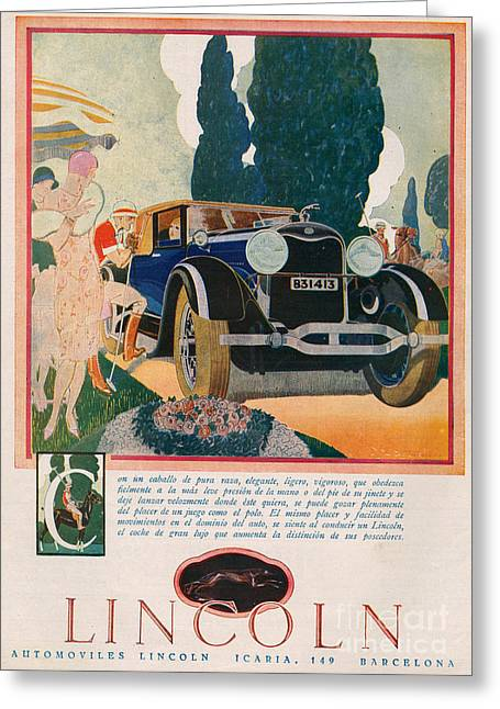 American Automobiles Greeting Cards - Lincoln 1928 1920s Usa Cc Cars Greeting Card by The Advertising Archives