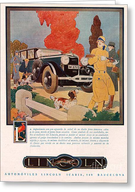 American Automobiles Drawings Greeting Cards - Lincoln 1929 1920s Usa Cc Cars Hunting Greeting Card by The Advertising Archives