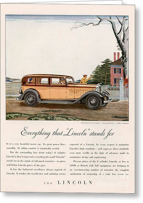 American Automobiles Drawings Greeting Cards - Lincoln 1932 1930s Usa Cc Cars Greeting Card by The Advertising Archives