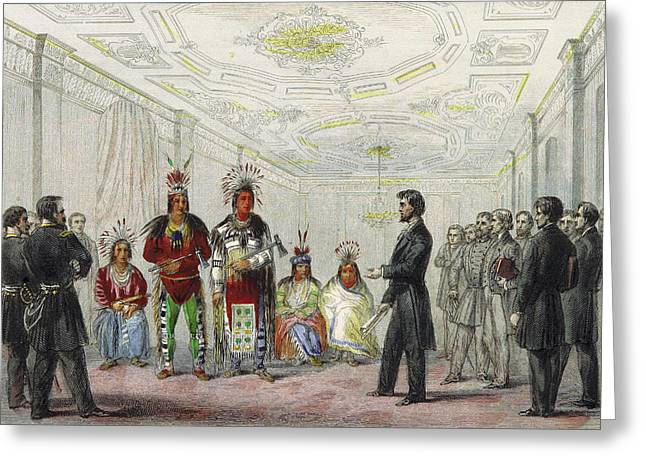 Lincoln And American Indian Chiefs, 1863 Greeting Card by British Library