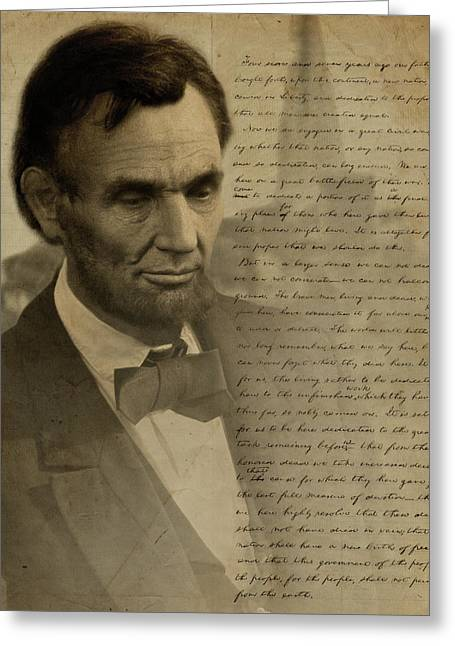 Officers Greeting Cards - Lincoln at Gettysburg Greeting Card by Ray Downing