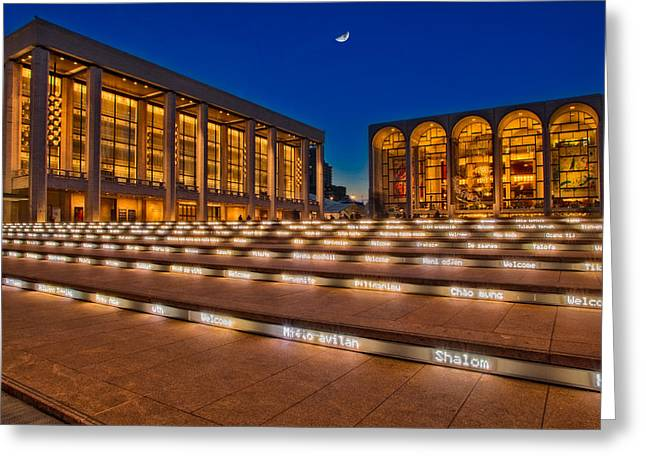 Moonrise Greeting Cards - Lincoln Center Greeting Card by Susan Candelario