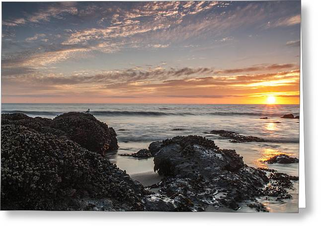 Ocean Images Greeting Cards - Lincoln City Beach Sunset - Oregon Coast Greeting Card by Brian Harig