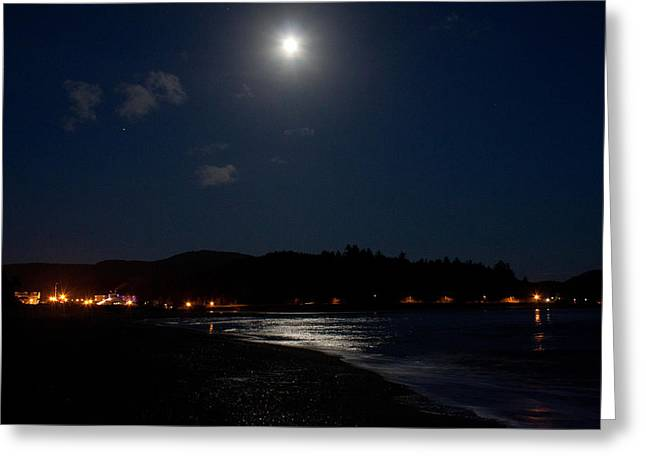 Lincoln City Greeting Cards - Lincoln City Moonlight Greeting Card by John Daly