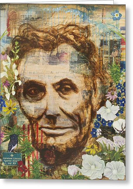 Abe Lincoln Paintings Greeting Cards - Lincoln Crossed My Mind Greeting Card by Andrea LaHue aka Random Act