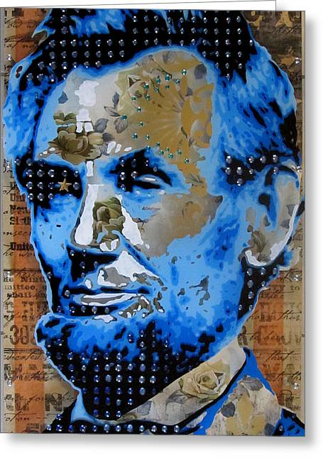 Graffitti Art Greeting Cards - Lincoln Greeting Card by Gary Kroman