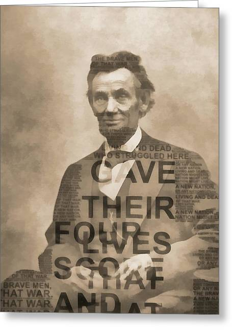 Lincoln Gettysburg Address Typography Greeting Card by Dan Sproul