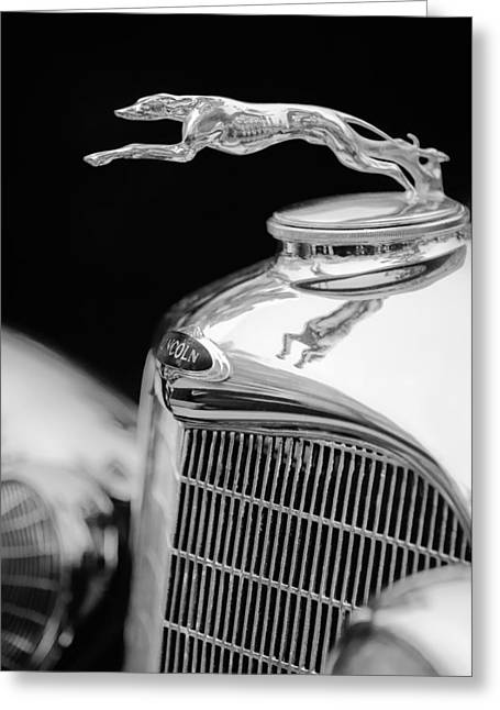 Lincoln Photographs Greeting Cards - Lincoln Hood Ornament - Grille Emblem -1187bw Greeting Card by Jill Reger