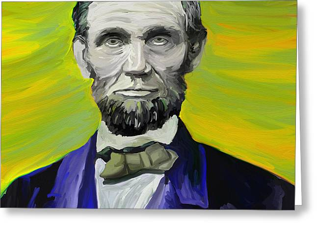 Slavery Digital Greeting Cards - Lincoln in a Blue Suit Greeting Card by Lori Elm