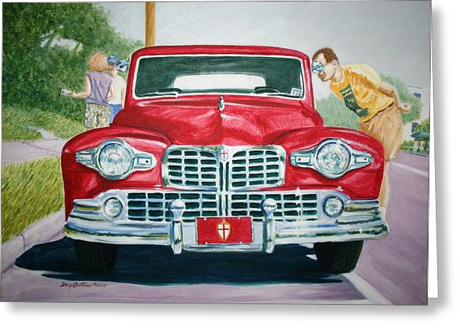 Stacy Bottoms Greeting Cards - Lincoln in Red Greeting Card by Stacy C Bottoms