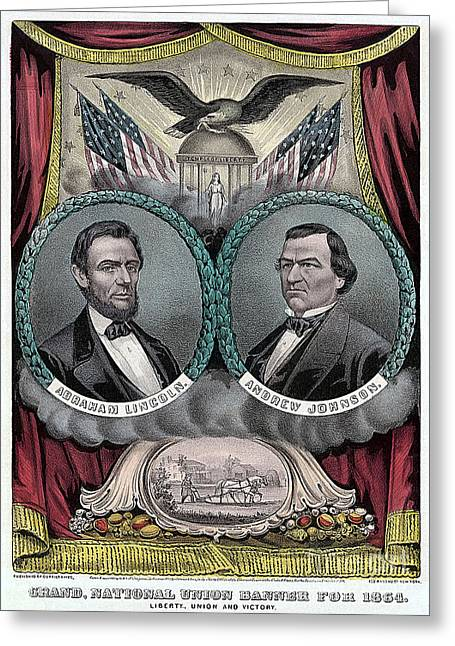 Abraham Lincoln Greeting Cards - Lincoln Johnson Campaign Poster Greeting Card by Marvin Blaine