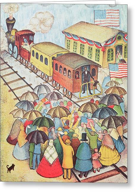 Gathering Greeting Cards - Lincoln Leaving Springfield, Illinois By Train Pastel On Paper Greeting Card by American School