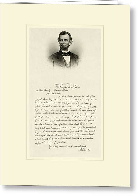 Antique Digital Art Greeting Cards - Lincoln Letter Greeting Card by Gary Grayson
