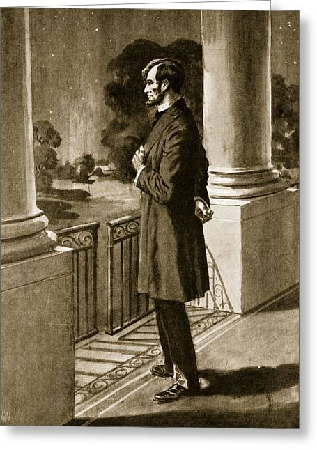 Pensive Drawings Greeting Cards - Lincoln Looks Out From The White House Greeting Card by American School