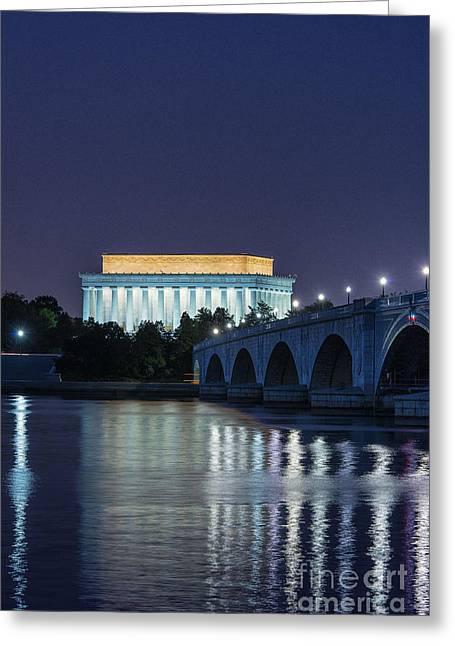 U.s.a. President Greeting Cards - Lincoln Memorial and Arlington Bridge Greeting Card by John Greim