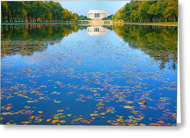 Pond Framed Prints Greeting Cards - Lincoln Memorial and Reflecting Pool I Greeting Card by Steven Ainsworth