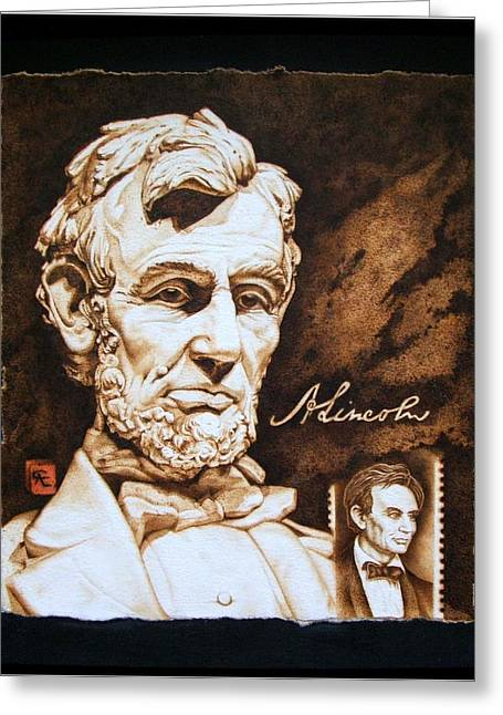Two Pyrography Greeting Cards - Lincoln Memorial and the younger Greeting Card by Cynthia Adams