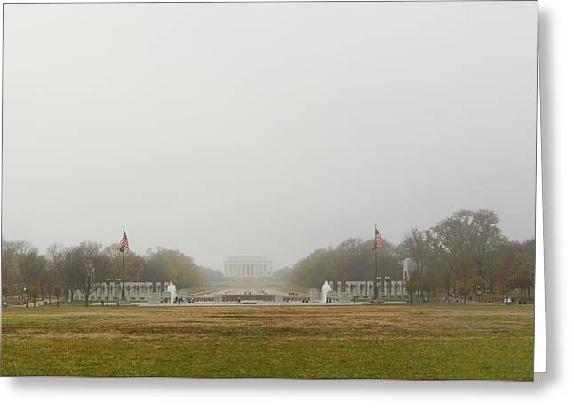 Lincoln Photographs Greeting Cards - Lincoln Memorial and World War II Memorial - Washington DC - 01131 Greeting Card by DC Photographer