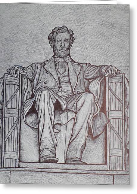 Civil War Site Drawings Greeting Cards - Lincoln Memorial Greeting Card by Christy Brammer