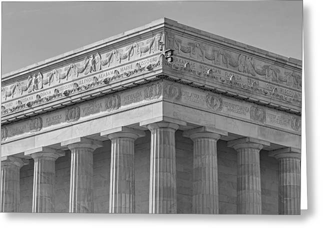 Symetrical Greeting Cards - Lincoln Memorial Columns BW Greeting Card by Susan Candelario