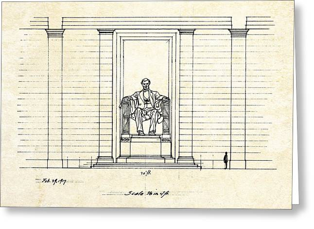Washington D.c. Digital Art Greeting Cards - Lincoln Memorial Sketch Greeting Card by Gary Bodnar