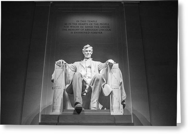 D.w. Greeting Cards - Lincoln Memorial in Black and White Greeting Card by John McGraw