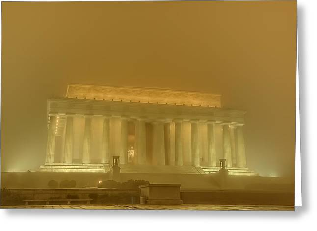 Statue Greeting Cards - Lincoln Memorial In The Fog Greeting Card by Metro DC Photography