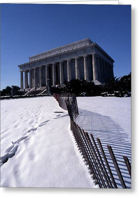 Abraham Lincoln Artwork Greeting Cards - Lincoln Memorial In The Snow Greeting Card by Skip Willits