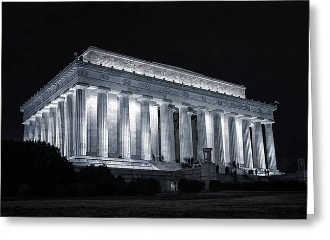Illuminate Greeting Cards - Lincoln Memorial Greeting Card by Joan Carroll