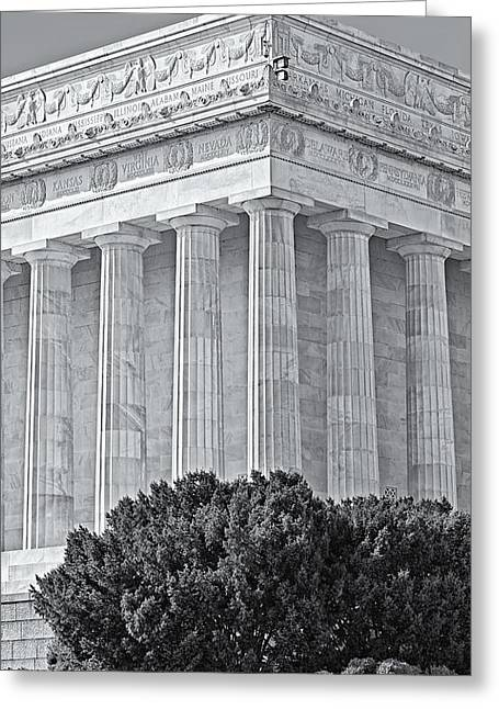 Symetrical Greeting Cards - Lincoln Memorial Pillars BW Greeting Card by Susan Candelario