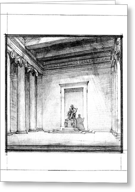 Historic Architecture Greeting Cards - Lincoln Memorial Sketch III Greeting Card by Gary Bodnar