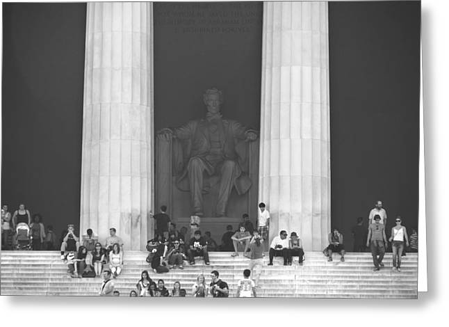 Washington D.c. Digital Art Greeting Cards - Lincoln Memorial - Washington DC Greeting Card by Mike McGlothlen